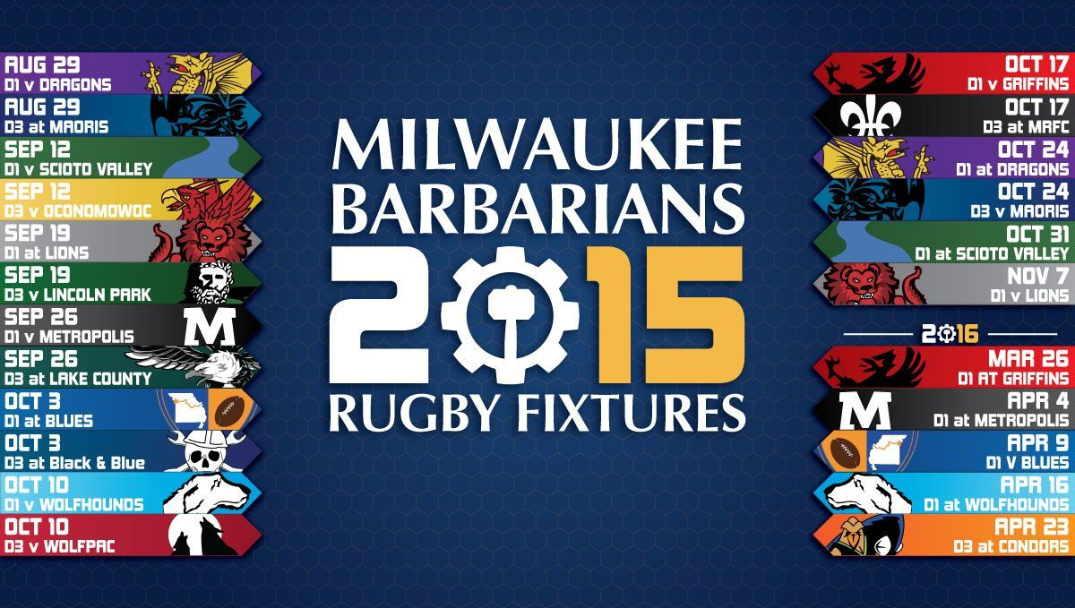 2015 milwaukee barbarians rugby 15s schedule fixtures