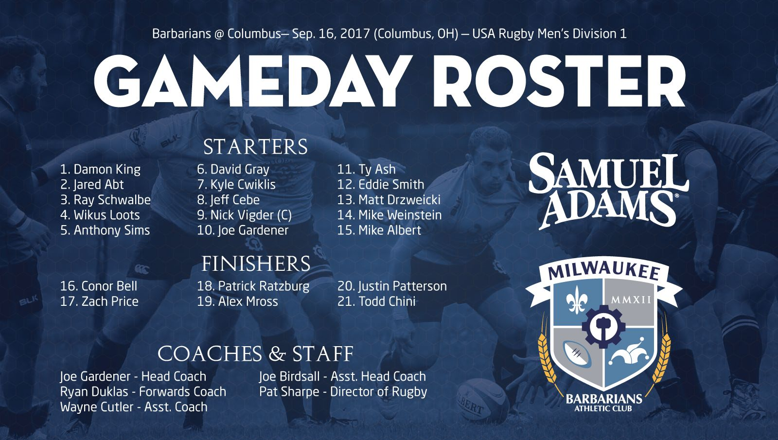 2017 09 16 milwaukee v columbus roster